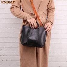 PNDME genuine leather ladies handbag fashion vintage soft cowhide female shoulder messenger bags for women black composite bag стоимость