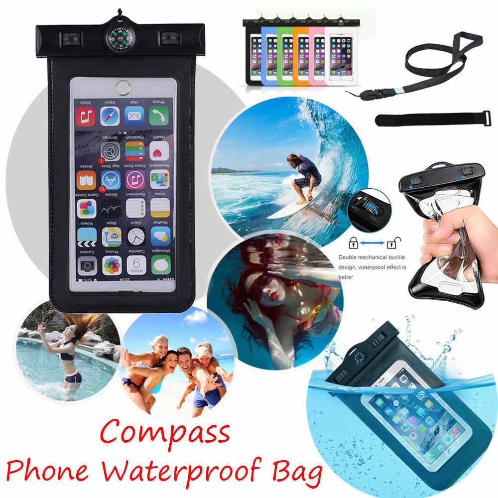 العالمي 6 بوصة مقاوم للماء تحت الماء جراب هاتف شارة الحقيبة جميع الهواتف الذكية البوصلة الهاتف المحمول مقاوم للماء حقيبة الساخن A30618