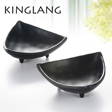 Irregular Cheap melamine plastic black Cheese butter bowls plastic sauce dish triangl shape unique design for kaiteen