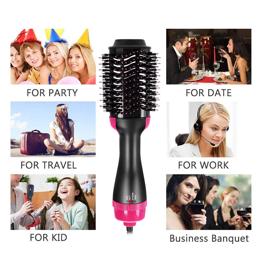 Hot Air Brush One Step Hair Dryer Volumizer Rotating Hair Roller Styling Comb Negative Ion Generator Hair Dryer Curler Comb (6)