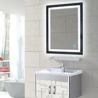 LED Lighted Touch Button Wall Bathroom Makeup Mirror Cosmetic Decor Mirror Illuminated Vanity Mirror Rectangular Decor HWC