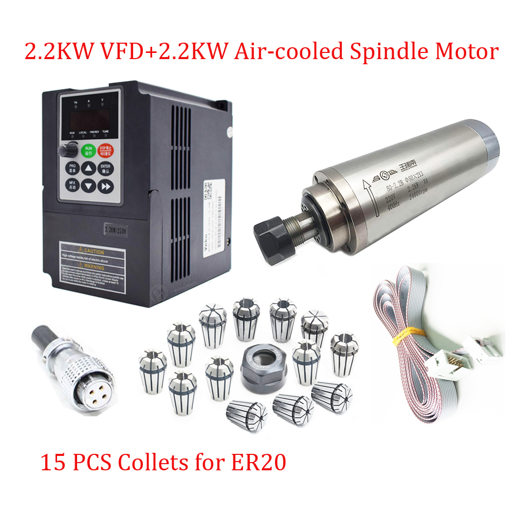 2.2KW CNC Spindle Motor Kit 220V 24000rpm ER20 4Bearings Water-cooled Spindle+ 2.2KW VFD Inverter with 2M Cables Milling Routing
