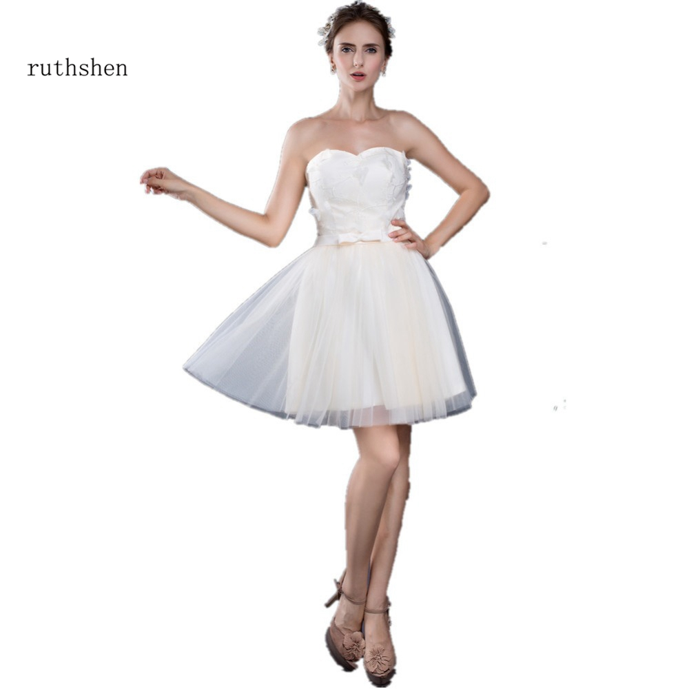 ruthshen Sexy Under 50 Cheap Beach Wedding Dresses 2018 Sweetheart Lace Tulle Flowers Bridal Gowns Vestido De Noiva Curto