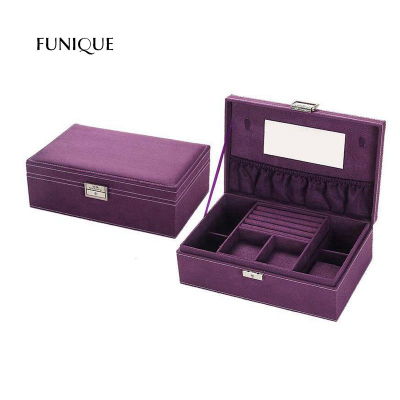 FUNIQUE Jewelry Box European Princess Flannelette Wooden Belt Lock Jewelry Box Earring Ring Reception Box Storage Bins