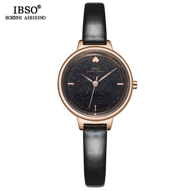 IBSO אופנה הניצוץ חיוג עיצוב שעונים לנשים עור רצועת שעון באיכות גבוהה נשים קוורץ שעון