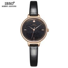 Ibso 패션 빛나는 다이얼 디자인 시계 여성 가죽 스트랩 시계 고품질 여성 쿼츠 시계