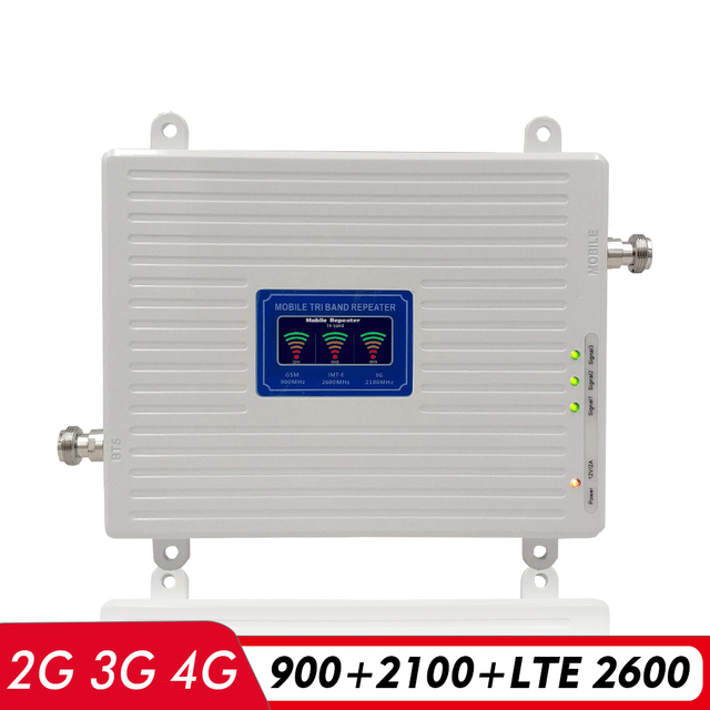 2G 3G 4G Tri Band Booster GSM 900+(B1)UMTS WCDMA 2100+(B7)FDD LTE 2600 Cell Phone Repeater 900 2100 2600 Mobile Signal Amplifier