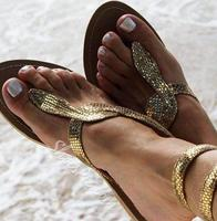 New fashion summer flat sandal for woman 2018 sexy snake pattern gladiator thong sandal silver gold