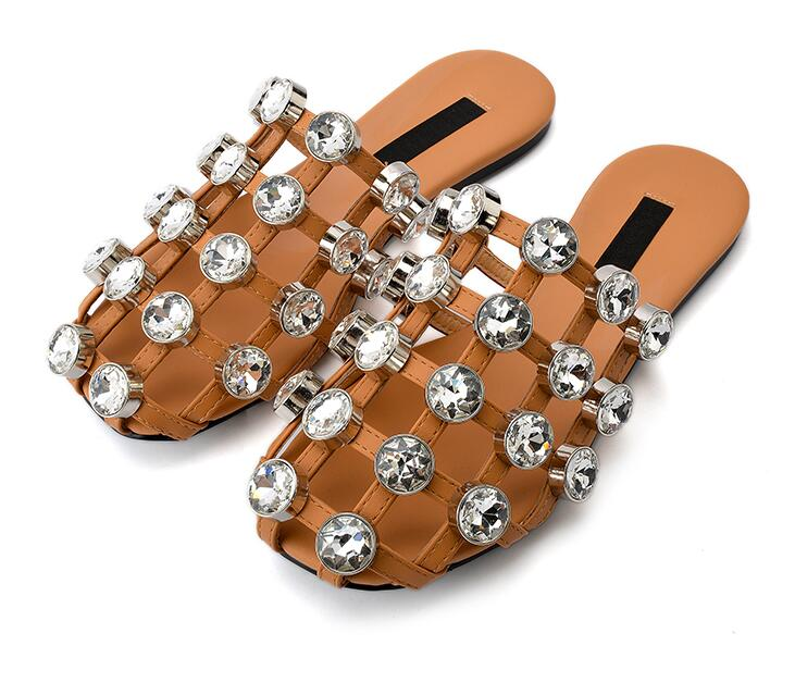 2017 Summer Hot Crystal Straps Women Cut Out Sandals Round Toe Ladies Fashion Caged Slides Slip On Flat Sandals Size 42 fashion blue rabbit fur women open toe sandals thicken buckles ladies cut out flat sandals summer slip on sandals