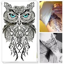 Blue OWL SO COOL NEW ARRIVAL 19*12 CM Temporary Tattoo Stickers Temporary(China)