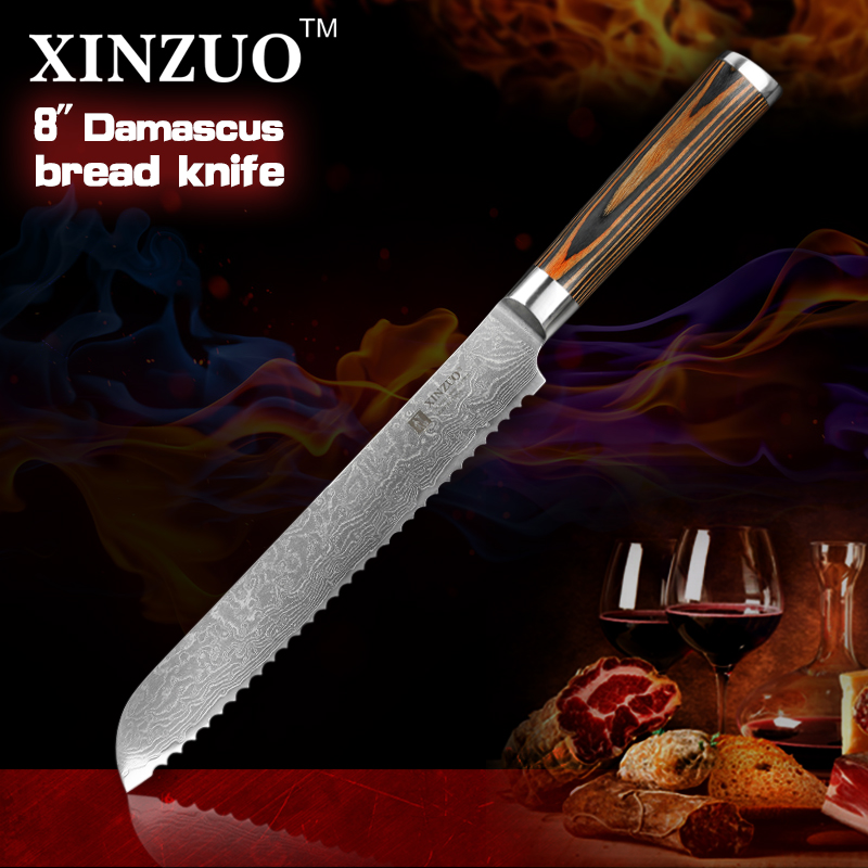 HOT XINZUO 8 inches bread font b knives b font Damascus kitchen font b knife b