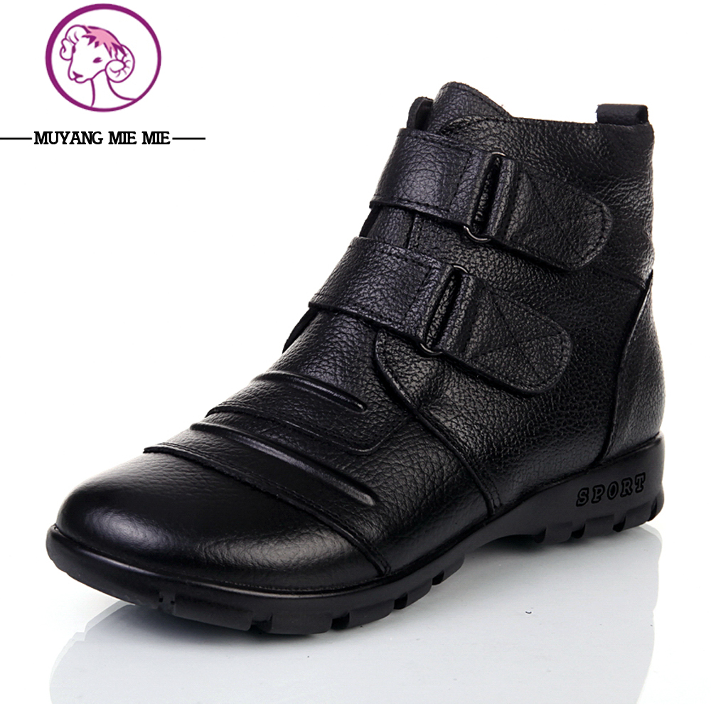MUYANG MIE MIE Plus size 35-43 new 2017 fashion winter women genuine leather flat ankle boots Mother shoes woman warm snow boots serene handmade winter warm socks boots fashion british style leather retro tooling ankle men shoes size38 44 snow male footwear
