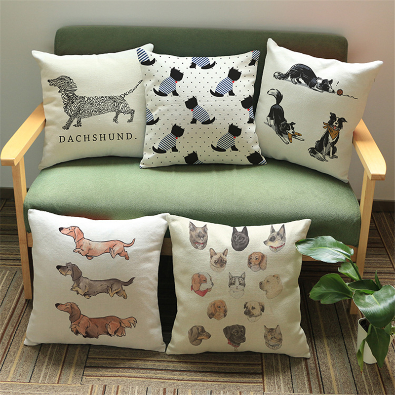 Creative cute dogs Animals Pillow case Cushion Cover chair sofa seat office Home hotel coffee shop Decoration for children gift