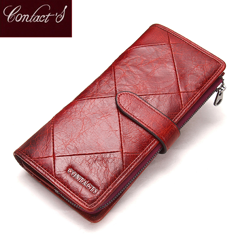 2018 Genuine Cowhide Leather Women Wallet Phone Pocket Purse