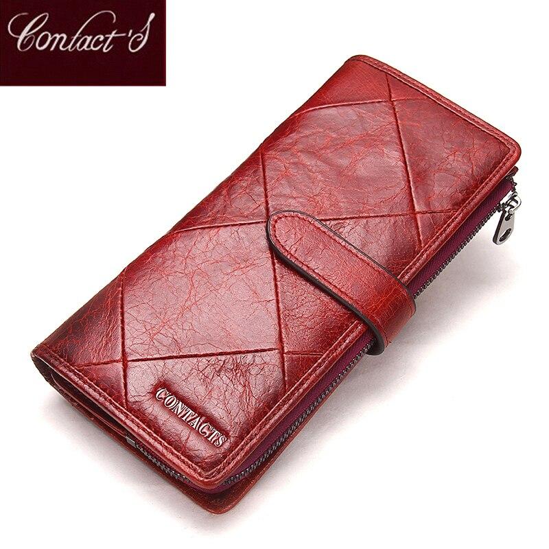 2019 Genuine Cowhide Leather Women Wallet Phone Pocket Purse Wallet Female Card Holder Lady Clutch Patchwork Carteira Feminina