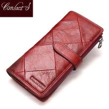2020 Genuine Cowhide Leather Women Wallet Phone Pocket Purse Wallet Female Card Holder Lady Clutch Patchwork Carteira Feminina
