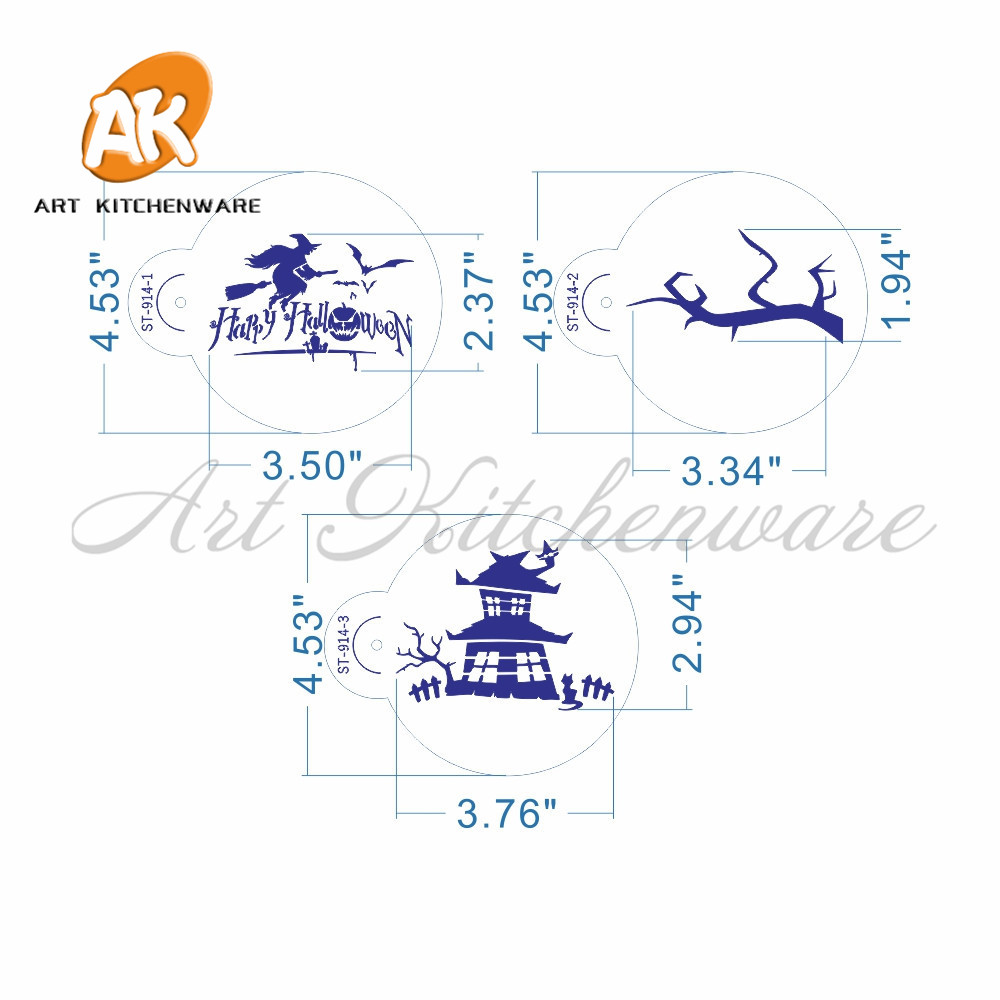 6pcs happy halloween stencil set for cake cookies decorationbatpumpkinghost house design cookie and cupcake stencil st 914 in cake molds from home