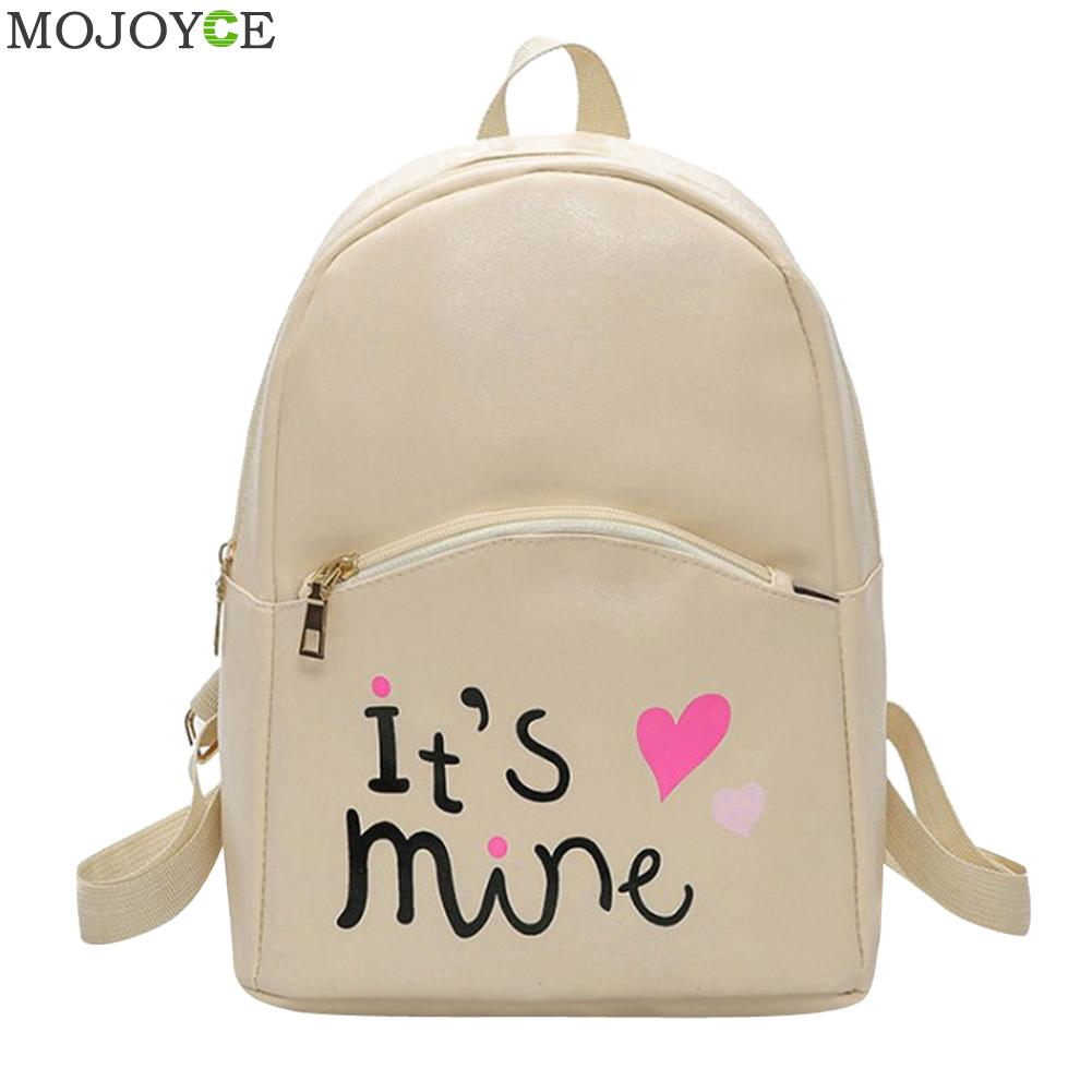 Preppy Style Women Backpack Letter Print Mini PU Leather Backpack Schoolbags for Teenage Girls Female Backpack Rucksack Mochilas letter print raglan hoodie