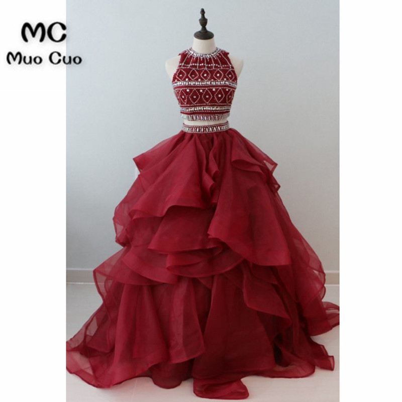 Two Pieces Gown 2018 Ball Gown   Prom     Dresses   with Crystal Beads by Hand Organza Ruffles Burgundy Women Formal Long   Prom     Dresses
