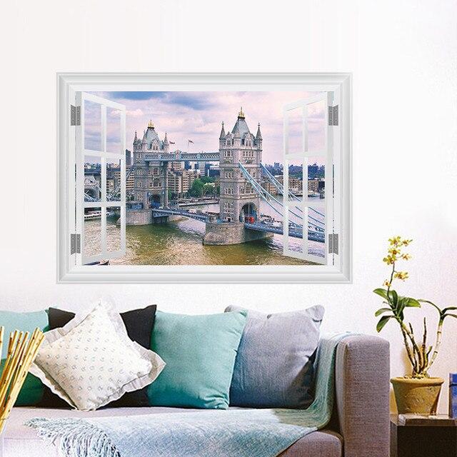 Scenery View London Tower Bridge Wall Sticker Living Room Bedroom