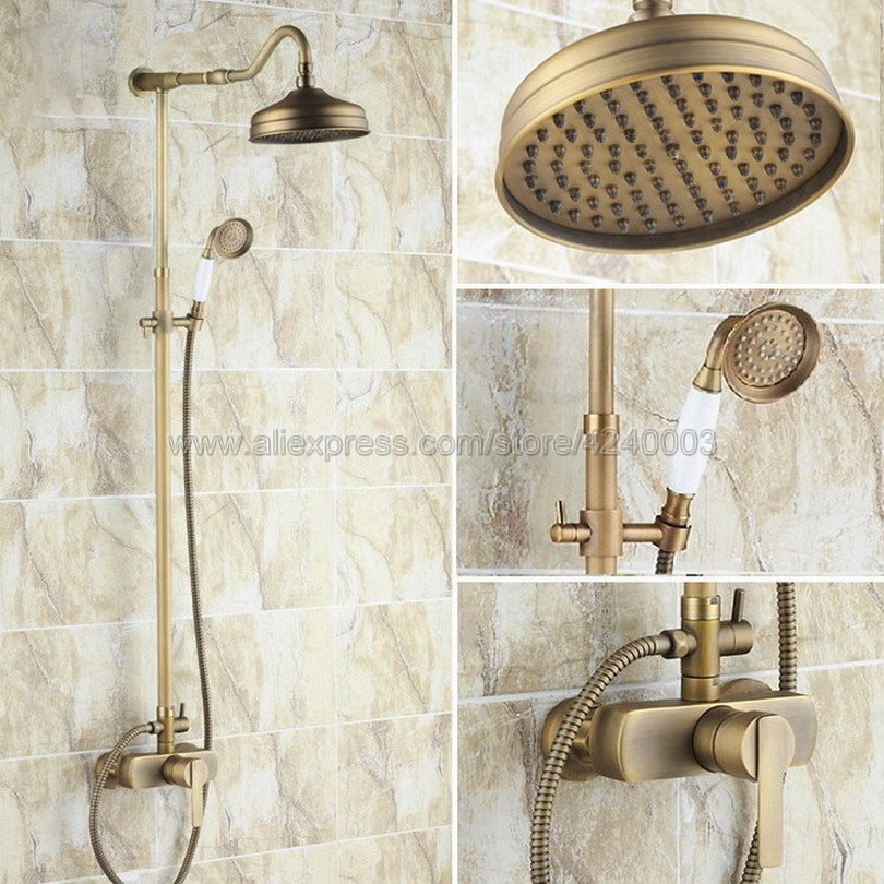 Antique Brass Rain Shower Set Faucet 8 Rainfall Shower Head W/ Hand Shower Spray Mixer T ...