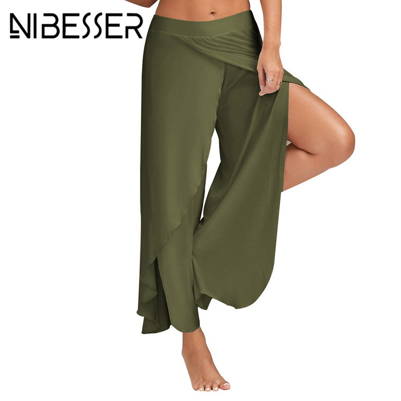 NIBESSER Women Chiffon   Wide     Leg     Pants   Women High Waist 2018 Loose Fashion Bottoms Stylish Summer Long   Pant   Female Plus Size