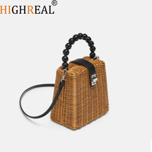 New Rattan Straw Shoulder Bag Women Hand-woven Messenger Bag Summer Beach Square Box Straw Handbag For Lady Bolsa Feminina