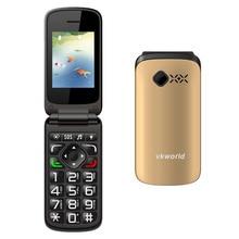 Старейшин Мобильного Телефона VKworld Z2 2.4 дюймов TFT Filp Телефон большой ключ Телефон Поддержки Dual SIM Карты FM Экстренного вызова и SMS
