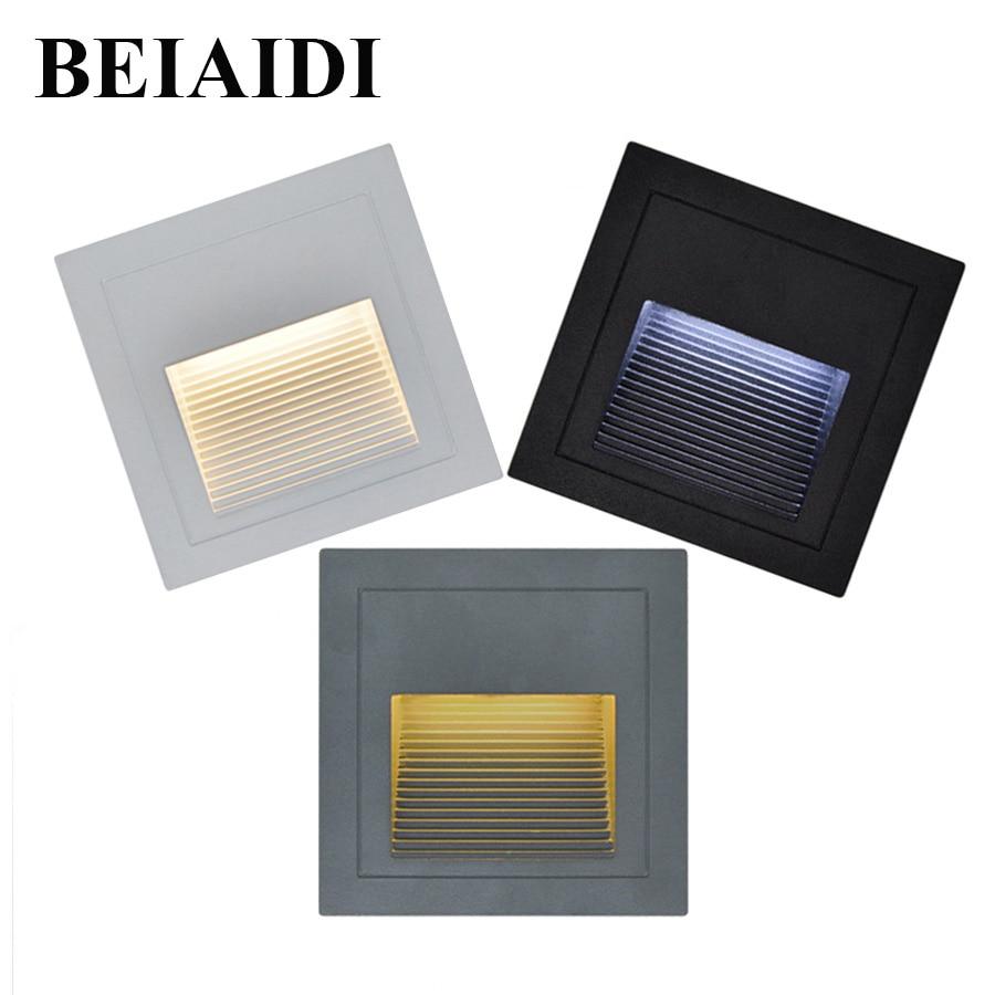 BEIAIDI 4pcs 3W Waterproof LED Footlight Step Light Outdoor Recessed Wall Stair Lamp Aisle corner lights