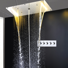 Multi-function thermostat shower set electric led big head 700*380mm ceiling misty rainfall waterfall column