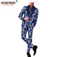 2018 spring&autumn africa print casual suit for men full sleeve reversible jacket+full length straight pants men's set A1816003