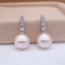 Eternal wedding Women Gift word 925 Sterling silver real Pure natural Pearl Earrings 925 Sterling Silver Genuine circle to highl