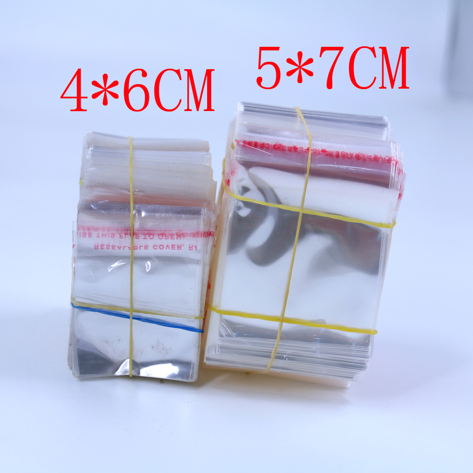 Factory Cheap 4*6cm,5*7cm Adhesive Plastic Bag Small Jewelry Packing Bags 200pcs/lot