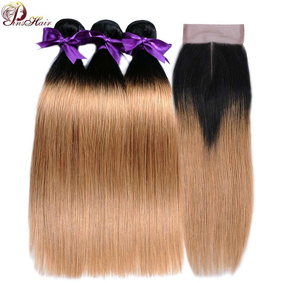 Pinshair волос Темно-русый Связки с закрытием Ombre 1B 27 перуанский прямые человеческие волосы 3 Связки с закрытием NonRemy без клубок
