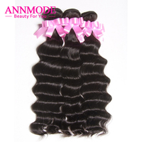 Indian Hair Bundles Loose Deep Wave Human Hair Extensions Non Remy Hair 3/4 Bundles Natural Color Free Shipping