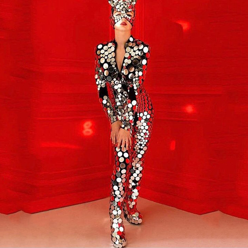 New Mirror Costume Women Nightclub Jumpsuit Mirror DS Party Festival Outfit Mirror Mask Performance  GoGo Dance Costume VDB670