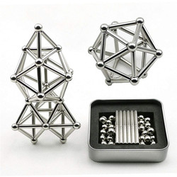 63 pcs barras magnéticas de neodímio bolas de metal ímã permanente alívio de pressão neodímio ímã 36 x barra magnética + 27 x bola de metal