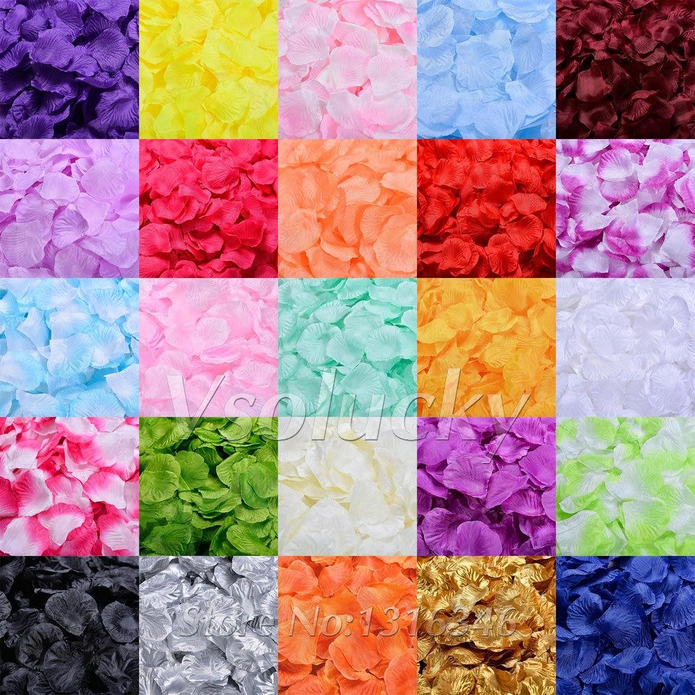 100pcs Silk Rose Petals Table Confetti Artificial Flower Baby Shower Crafts  Wedding Supplies Party Christmas Venue Decoration