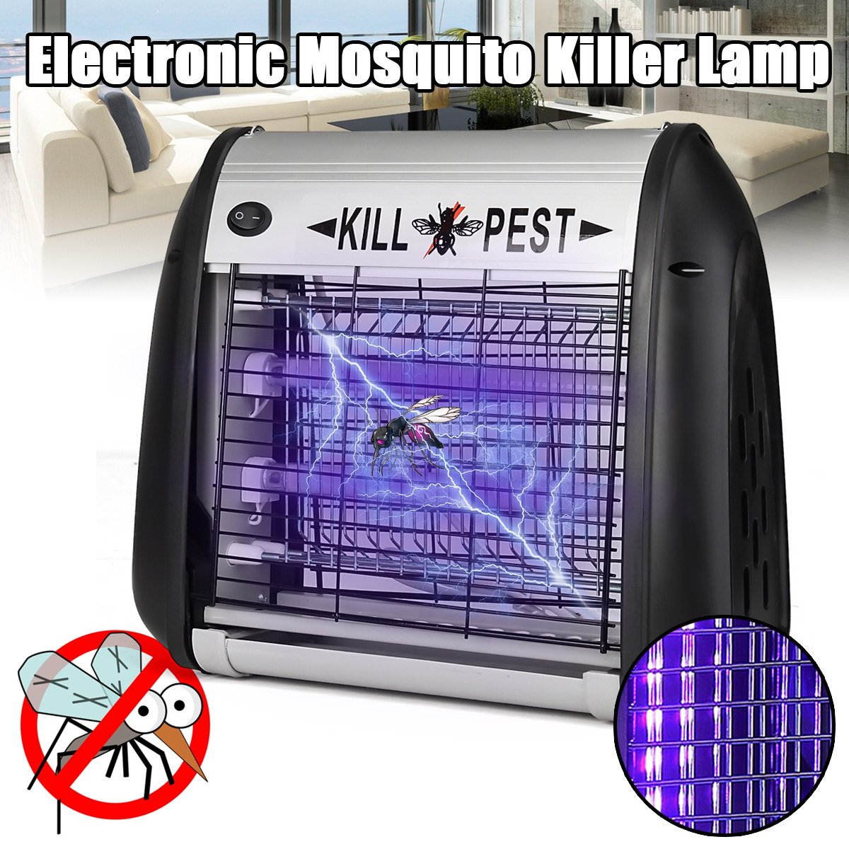 12W UV Electric Mosquito Killer Lamp LED Night Light Insect Repeller Killing Lights Fly Pest Mosquito Bug Zapper Trap Lighting uv 5w electronic mosquito killer repeller zapper led indoor bed room insect killer pest controll outdoor home fly bug trap lamp