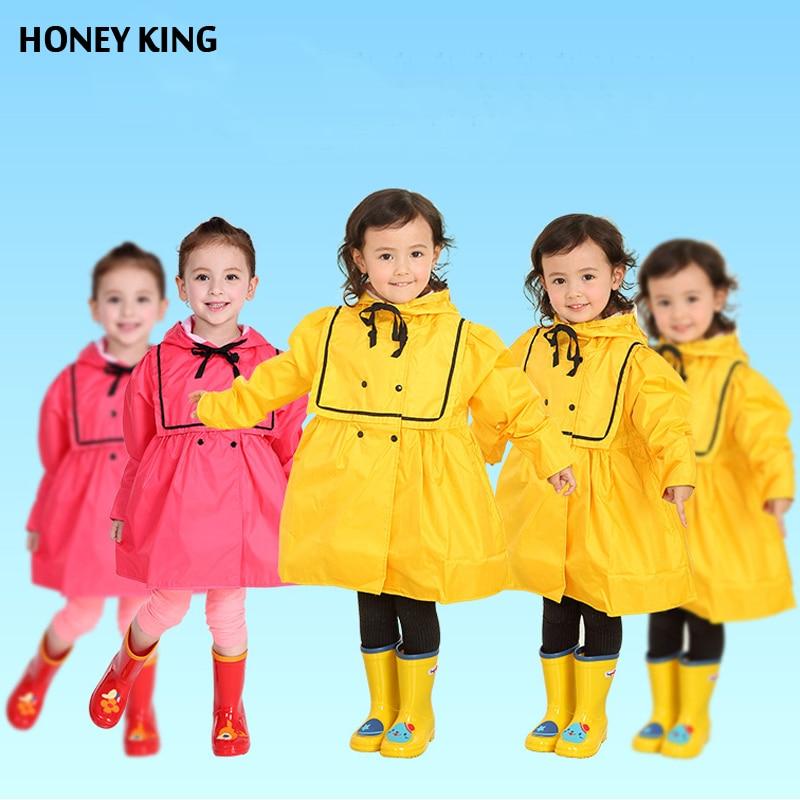 HONEYKING Toddler Baby Girls Rain Wear Jacket Girls Raincoat Spring Autumn Child Outdoor Playing Sand Waterproof Jacket Clothing