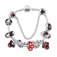 Hot European Style Mickey Minnie Love Charm Bracelets Women Fashion Red Glass Charm Fits Pan Bracelets