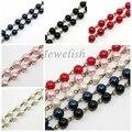 Cadenas de perlas de Perlas de Cristal hechas a mano, con cuentas de Perlas de Vidrio y Hierro Eyepins, Bronce antiguo, rosa, 1000x8mm, unos 76 unids/strand