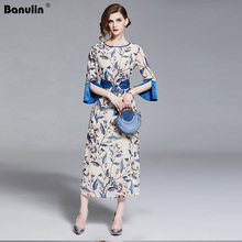 Banulin Runway Summer Women Vintage Floral Print Long Dress Ladies Half Flare Sleeve Elegant Belted Party Dresses Vestido B6452