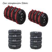 4Pcs 스페어 타이어 커버 케이스 폴리 에스터 겨울과 여름 자동차 타이어 스토리지 가방 자동차 타이어 액세서리 차량 휠 프로텍터