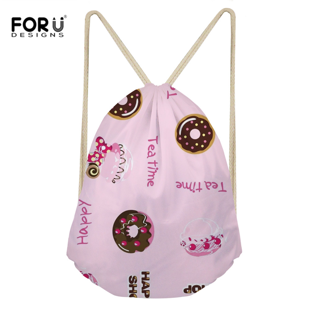 FORUDESIGNS Women Men Travel Storage Package Bag Doughnut Printing Drawstring Bags Kids Schoolbag Food Series Shopping Backpack