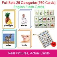 26 категорий 760 карты дети Монтессори узнать английский флэш карты Головоломка обучающие игры игрушки для детей Juguetes Educativos