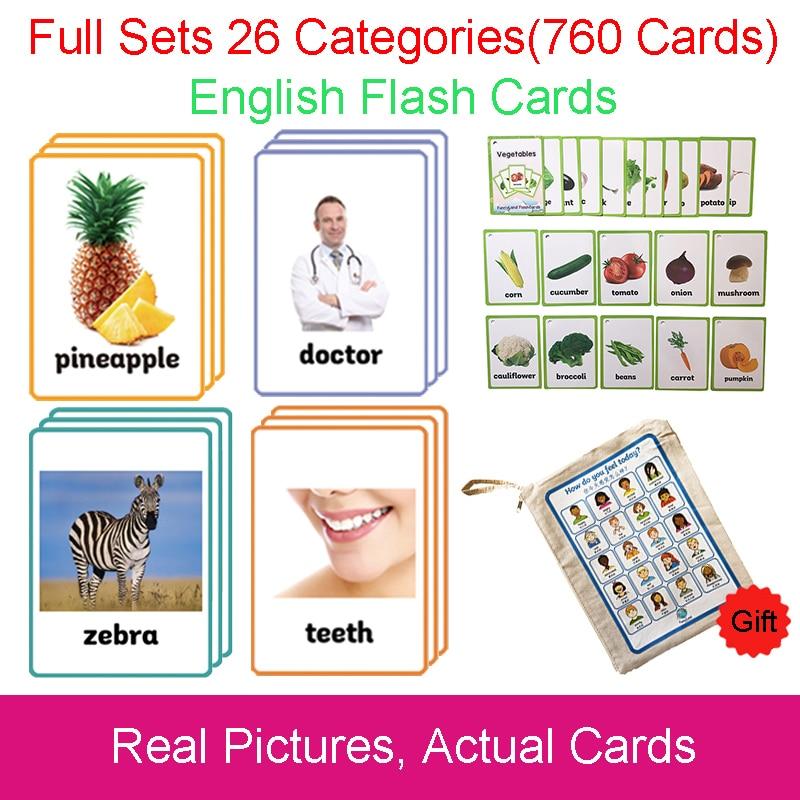 26 catégories 760 cartes enfants Montessori apprendre l'anglais carte Flash jeux de Puzzle jouets éducatifs pour enfants Juguetes Educativos