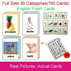 26 categorieën 760 Kaarten Kids Montessori Leren Engels Flash Card Puzzel Games Educatief Speelgoed Voor Kinderen Juguetes Educativos