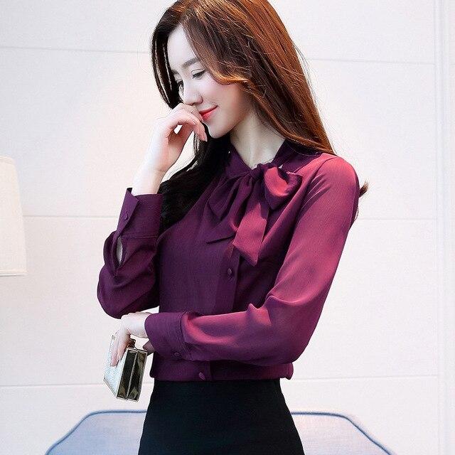 Women Chiffon Long Sleeve Blouses Feminine Bow OL Shirt New Elegant Chiffon Tops 1