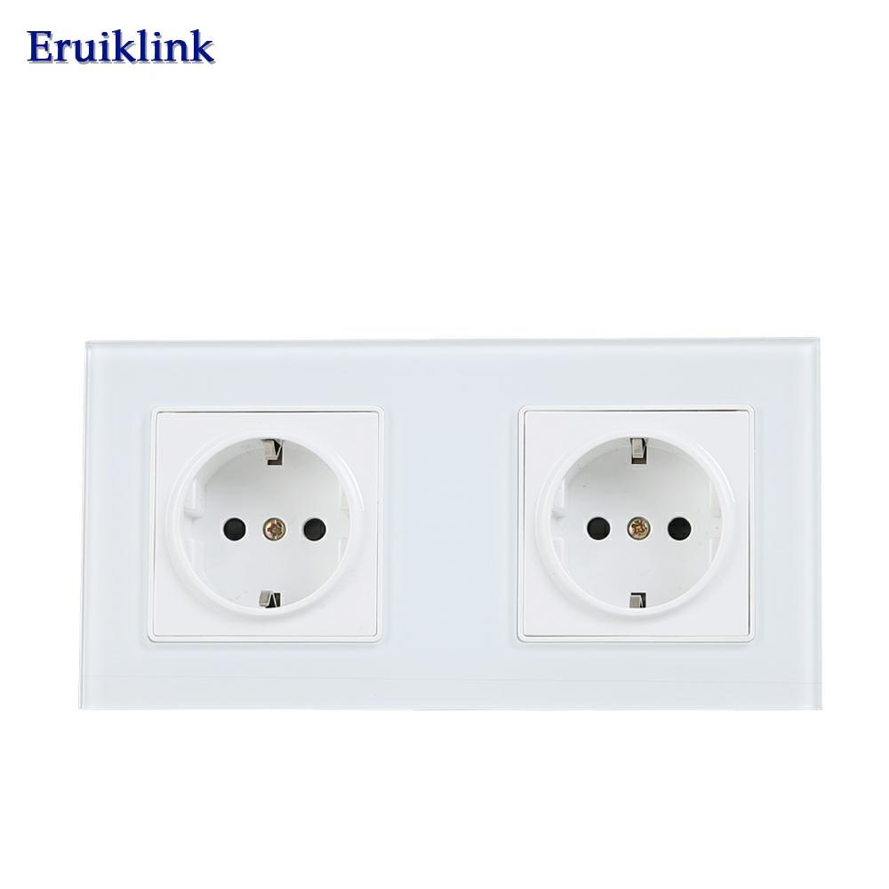 Eruiklink EU Standard 2 Gang Wall Power Socket, White Crystal Glass Panel, AC110V~250V 16A Wall Outlet